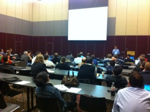Percona CEO Peter Zaitsev leads a track at the inaugural Percona MySQL University event in Raleigh, N.C. on Jan. 29, 2013.