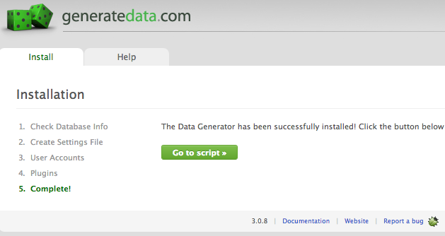 generatedata_installation_complete