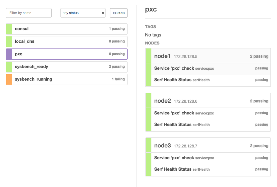 Percona xtradb cluster testing with consul and vagrant for Consul healthcheck