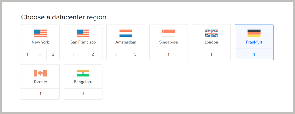 Choose DigitalOcean datacenter region