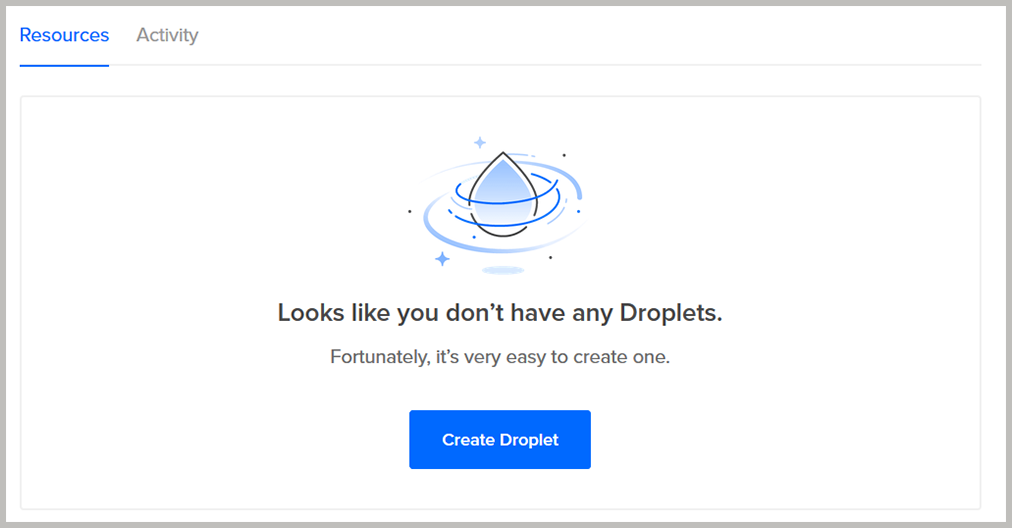 "Log in to DigitalOcean panel and click ""Create Droplet."""