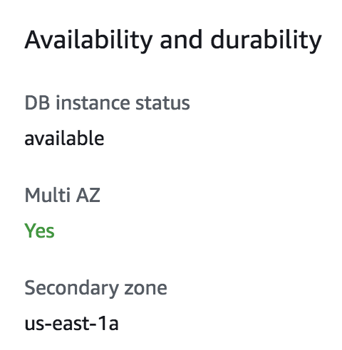 AWS management console showing that instance is Multi-AZ