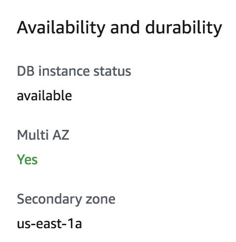 AWS management console showing that instance is Multi-AZ