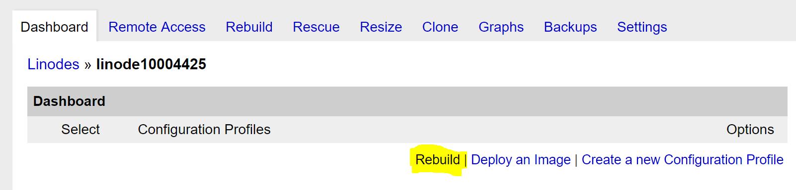 Rebuild the Linode