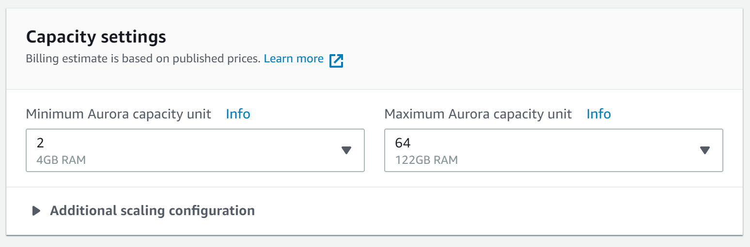 capacity settings on Amazon Aurora