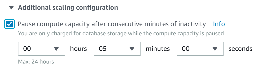 configure Amazon RDS Aurora Serverless sleep time