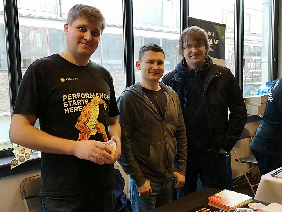 Evgeniy Patlan, Slava Sarzhan and Alexey Palazhchenko enjoying booth duty