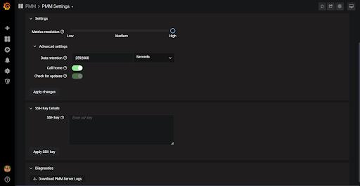 PMM Settings UI