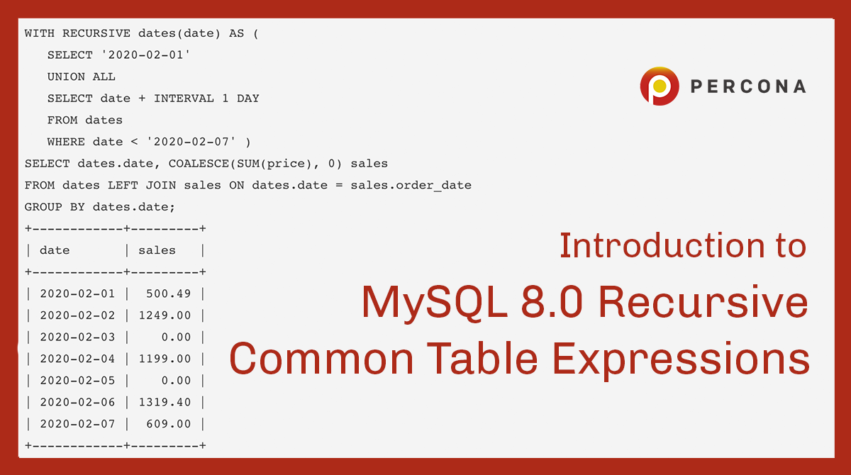 Introduction to MySQL 8.0 Recursive Common Table Expression (Part 2) -  Percona Database Performance Blog