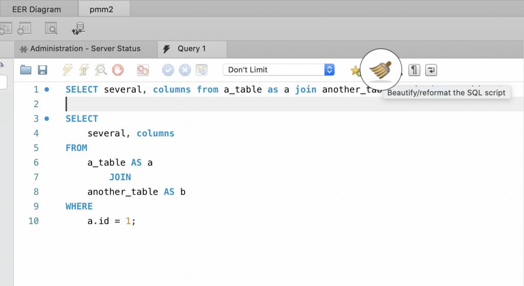 SQL query formatting