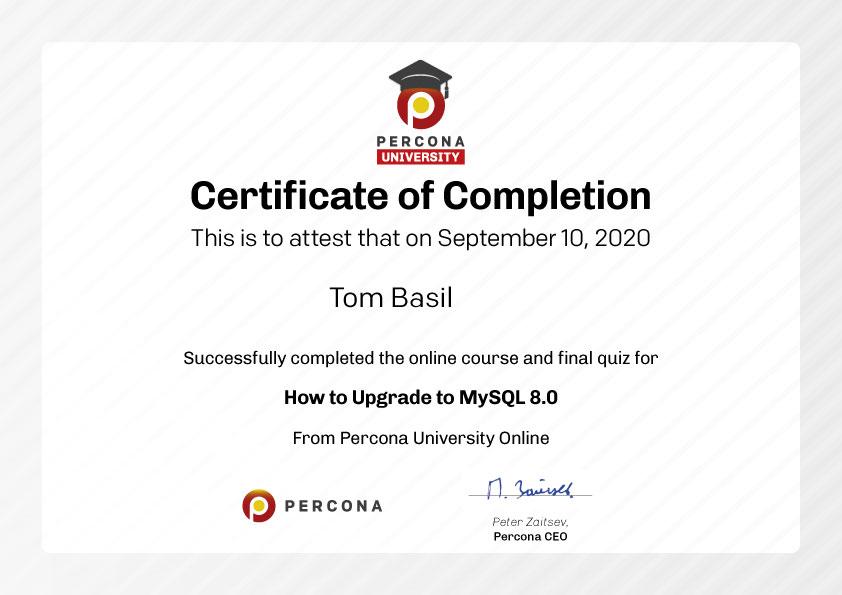 Percona University Online - Certificate
