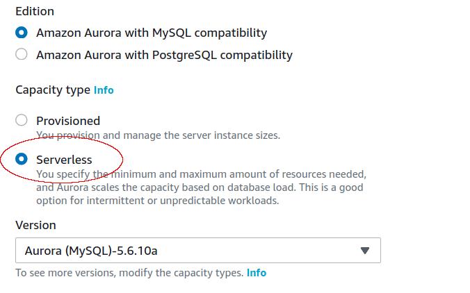 RDS Aurora Serverless cluster