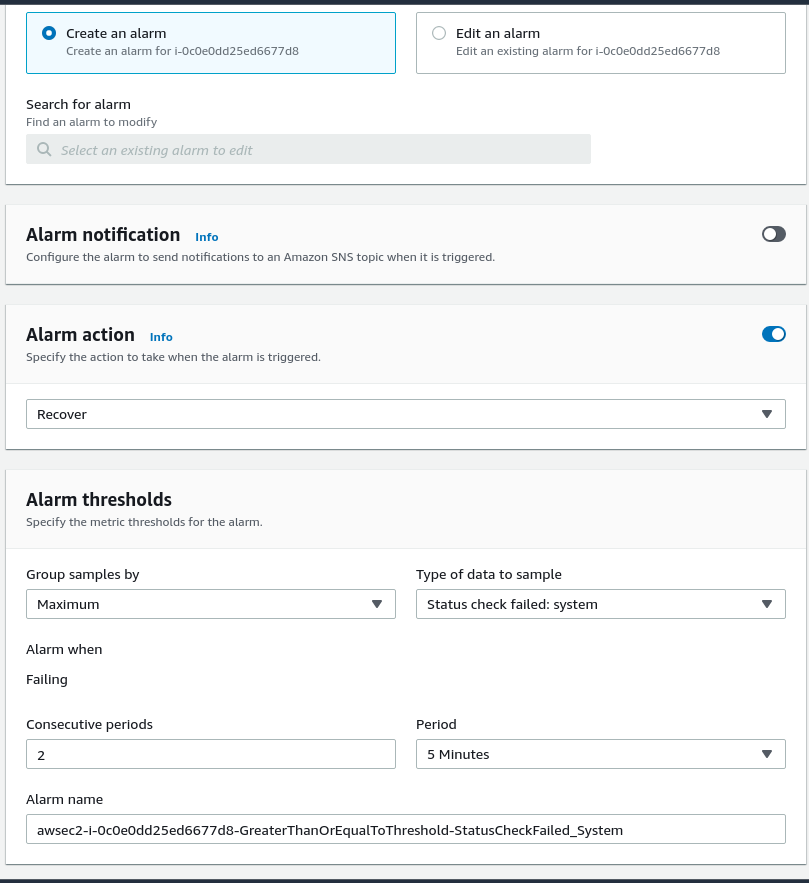 Adding CloudWatch alarm through EC2 console interface