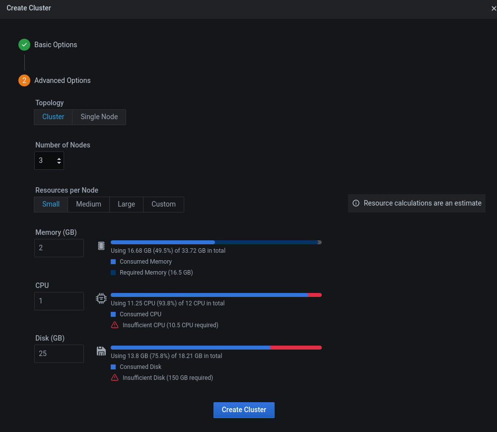 Advanced settings for cluster creation