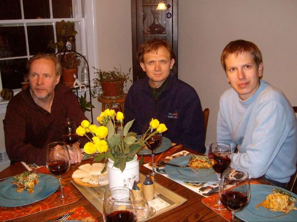 Monty, Vadim, & Peter share dinner, 2008