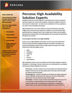 Percona: High Availability Solution Experts