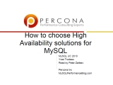 UC2010 HA Solutions for MySQL