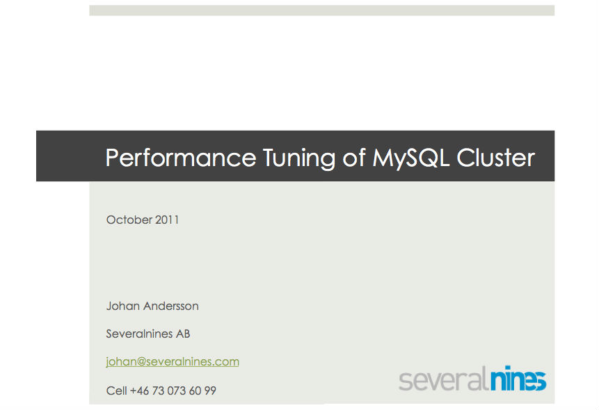 Performance Tuning of MySQL Cluster