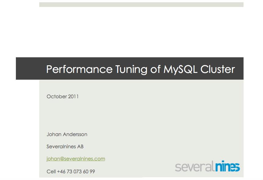 Performance Tuning of MySQL Cluster